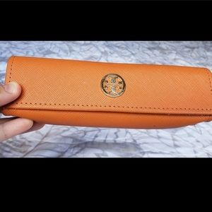 Tory Burch orange glasses case magnetic snap front